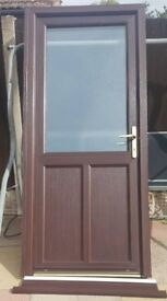 UPVC white and brown door with frame