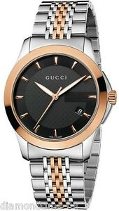 NEW GUCCI G-TIMELESS SMALL SIZE ROSE & STEEL TWO-TONE LADIES WATCH YA126512