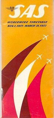 SAS TIMETABLE WORLDWIDE WINTER 1971/72 SCANDINAVIAN AIRLINE SYSTEM