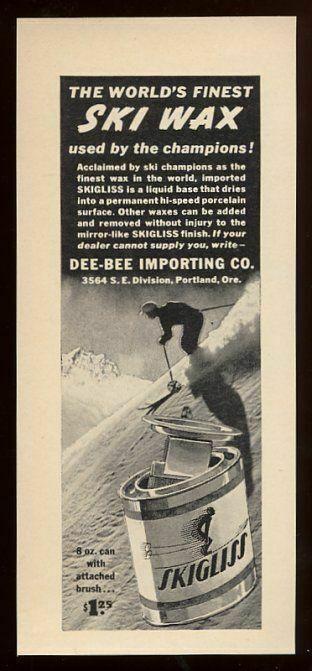 1939 Skigliss ski wax skier skiing art vintage print ad