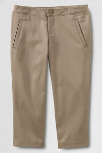 LANDS END Girls Uniform Stretch Crop PANTS Szs 7 8 10 14 Khaki or Navy NIP $35