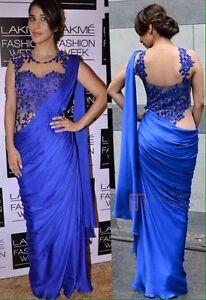 Uk Stock- Indian Pakistani Partywear Bollywood actress Sophie Royal Blue Saree