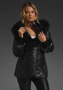 Mackage 'Peaches' Puffer Jacket Black with Black fur Small