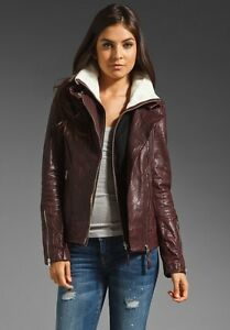 Mackage burgundy leather jacket coat 2 pcs manteau cuir  XXS