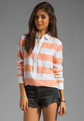 Equipment NWT Capri w Contrast Silk Blouse Peach White Rugby Stripe S/Small $258