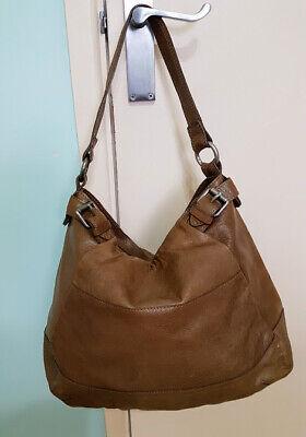 White Stuff Large Tan Leather Bag Hobo Slouchy Shoulder Bag