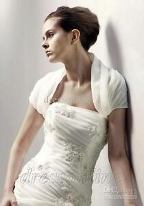 Wedding Bolero Jacket IVORY Organza Short Sleeves NEW & UNUSED