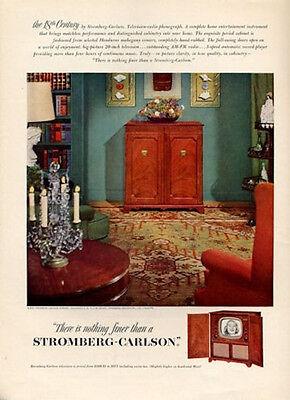 1951 Stromberg-Carlson Vintage Television Model 18th Centrury PRINT AD