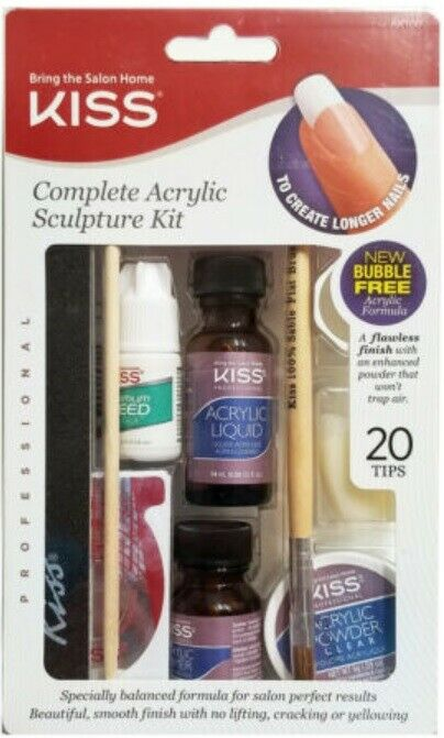 KISS Complete Acrylic Sculpture Kit AK100 with 20 Nail Tips