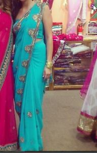 Beautiful Turquoise and Gold Sari size Small-Medium