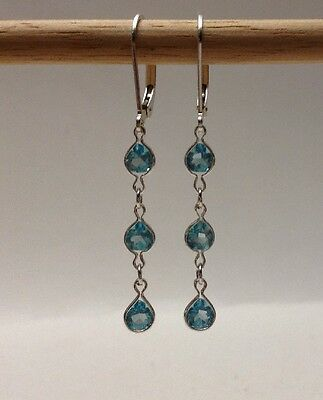Cut Blue Topaz Leverback Earring (Sterling Silver Pear Cut Blue Topaz Triple Dangle Lever back earrings)