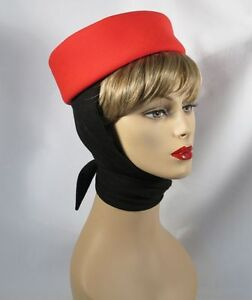 1950's RED WOOL PILL BOX WITH ATTACHED SCARF