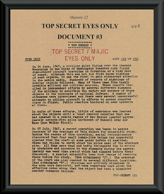 1947 Majestic 12 Roswell UFO Document Reprint On 70 Year Old Paper Area 51 - 1947 Collection