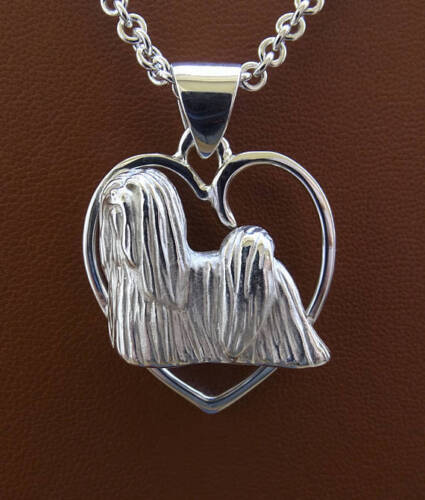 Large Sterling Silver Lhasa Apso Standing Study On A Heart Pendant