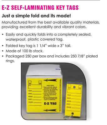 Car Dealer Key Tags Yellow Self Laminating From E-z Line