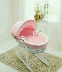 Kinder valley white Dimple with white Wicker moses basket. With free white Rocking stand. Brand new