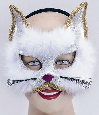 White Cat Glitter Masquerade Mask Headband Fancy Dress Accessory P1592 ()