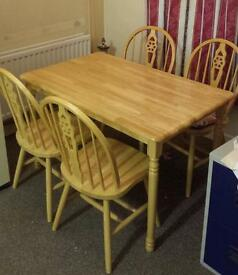 4 chair pine table & chairs