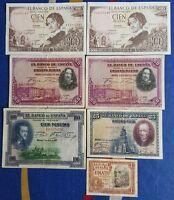 Billetes 1, 25, 50, 100 Pesetas España 1925, 1928, 1953, 1965, Numismatica -  - ebay.es