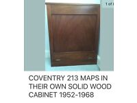 Coventry 213 maps of Coventry in their own solid wood cabinet. The maps date from 1952-1964