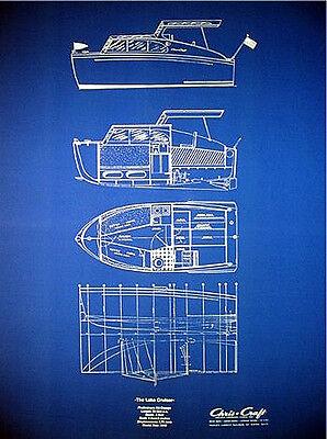 "Vintage Chris Craft Yacht 1949 Blue Blueprint Plan 20""x27"" (045)"
