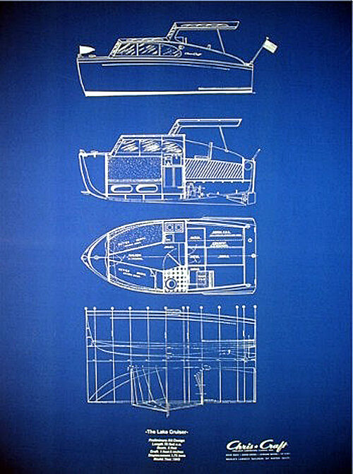 "Vintage Chris Craft Yacht 1949 Blue Blueprint Plan 20""x27"" (045)"