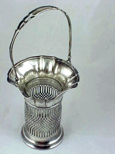 VINTAGE FILIGREE STERLING SILVER FLOWER BASKET WITH GLASS VASE INSERT