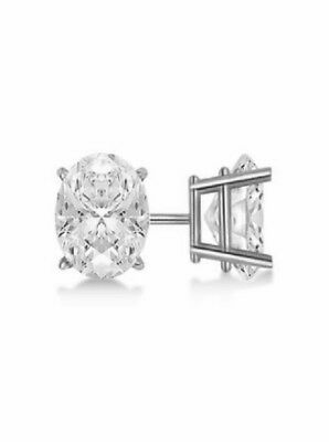 2.00 Ct Oval Brilliant Cut Diamond Stud Earrings D, VS2 GIA 14K White Gold