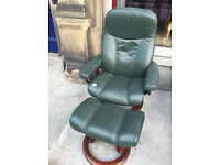 Green Stressless Leather Recliner Chair and Footstool - good condition,