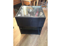 Small black cabinet with shelf and drawer, Feel free to view Size L 18 in D 18 in H 20 in
