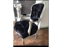 Black crushed velvet dressing table chair