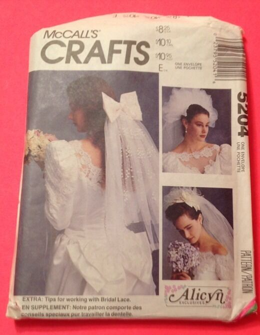 McCalls 5204 uncut sewing pattern bride bridal veil headpiece