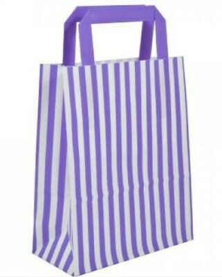 73 CANDY STRIPE PURPLE & WHITE PAPER CARRIER BAGS PARTY GIFT BAG
