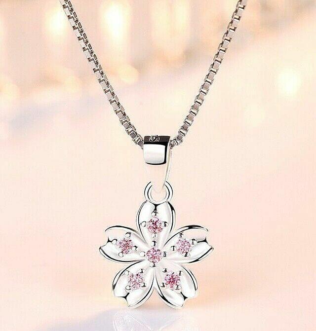 Jewellery - 925 Sterling Silver Beautiful Flower Pendant Chain Necklace Womens Jewellery Gif