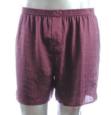NWT MURANO men SLEEP Silk Satin Shorts pajama PANTS Burgundy Boxer M, L, XL ()