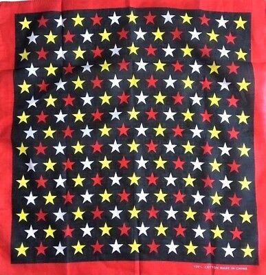 BUY 2 GET 1 FREE RED YELLOW WHITE STAR PRINT COTTON BANDANAS WRISTBAND HEAD WRAP