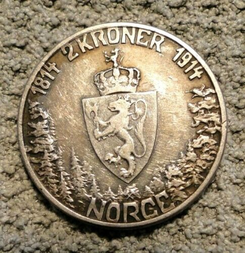 NORWAY 1914  2  KRONER SILVER COIN KM # 377
