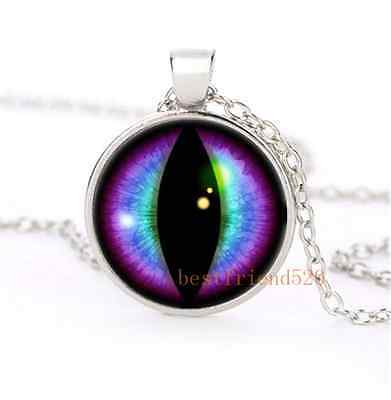 Blue and Purple Dragons Eye Cabochon Glass Silver Necklace Men Woman Jewelry