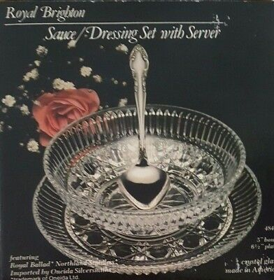 CLEAR GLASS SAUCE DISH SET WITH SERVER BY ROYAL BRIGHTON - Sauce Dish Set