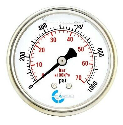 2-12 Pressure Gauge Stainless Steel Case Liquid Filled Back Mnt 1000 Psi