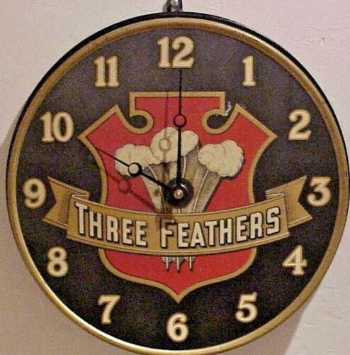 VERY RARE! ANTIQUE 1915  THREE FEATHERS WHISKEY METAL ADVERTISING WALL CLOCK