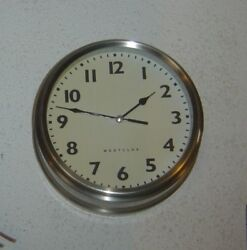 Working WESTCLOX Silver Case 8-1/2 Quartz Wall Clock Battery Operated, sweep
