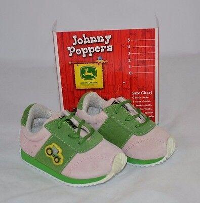JOHNNY POPPERS JOHN DEERE PINK GREEN LEATHER INFANT TODDLER SNEAKER SHOES JD0395 Green Johnny Popper