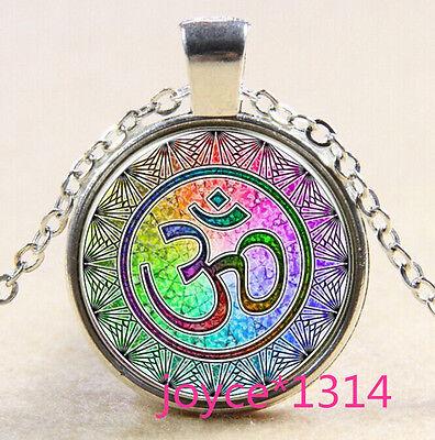 Om Pendant   Om Symbol Necklace   Namaste Yoga Jewelry  Silver  573