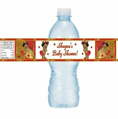 12 Royal Ethnic Princess Baby Shower Birthday Party Water Bottle Labels Red Gold - Royal Princess Birthday Party