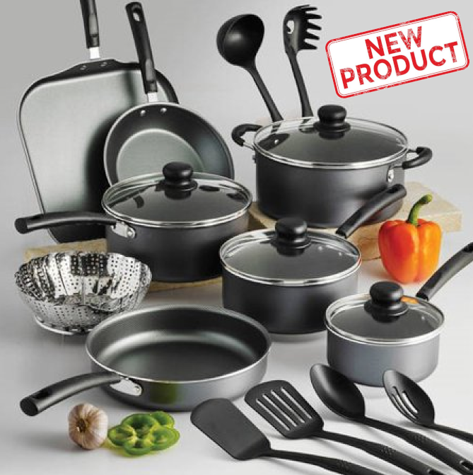 18 Piece Cookware Set Pots & Pans Kitchen Non Stick Home Cooking Pot Pan Black