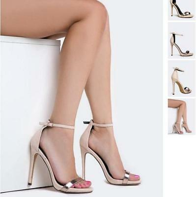 Nude Metallic Ankle Strap Buckle Closure Open Toe High Heel Stiletto Sandals - Metalic Strap High Heel