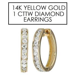 NEW* STAMPED 14K DIAMOND EARRINGS 130475239 JEWELLERY JEWELRY 14K YELLOW GOLD 1 CTTW