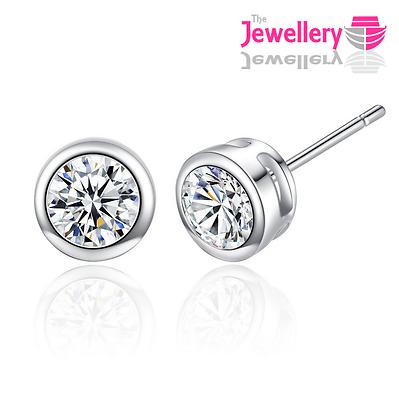 Jewellery - 925 Sterling Silver Stud Enclosed Round Crystal Earrings Jewellery Womens Ladies