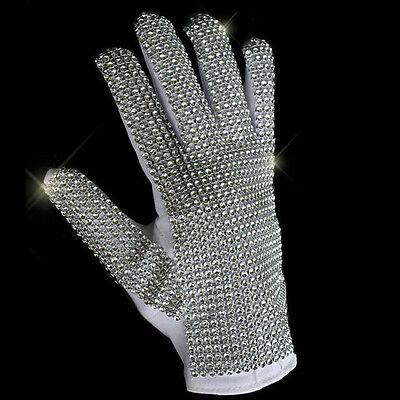 MJ Michael Jackson Classic Silver Handmade Billie Jean Shining Glove Imitate   - Mj Gloves